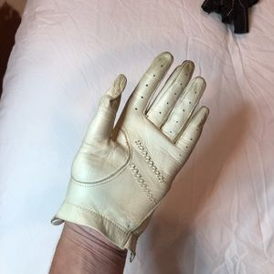 Vintage Ivory Leather Driving Gloves for Women